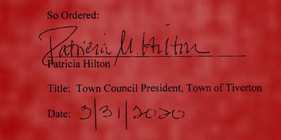 Patricia Hilton's Executive Order signature